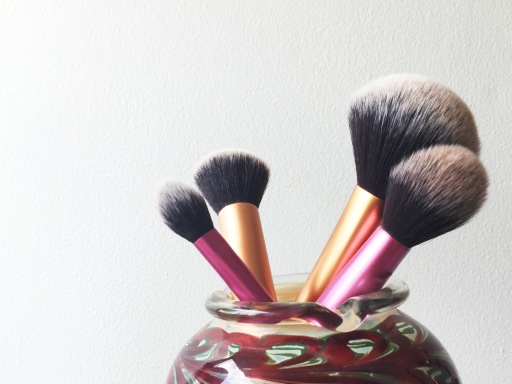 Real Techniques brushes. Left to Right: Seeting Brush, Buffing Brush, Powder Brush, Multi-task brush.